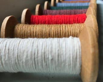 SHIPS TOMORROW 6 Blonde Wood Colorful Thread Spools - Primitive 3 Inch Wooden Bobbins - Set of 6 Rustic Decor