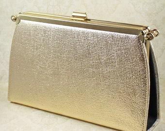 Vintage Ambassador Original Gold, Black and Ivory Brocade Interchangeable Clutch Purse