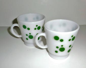 Hazel Atlas Green Dots Children's Mugs Set of Two