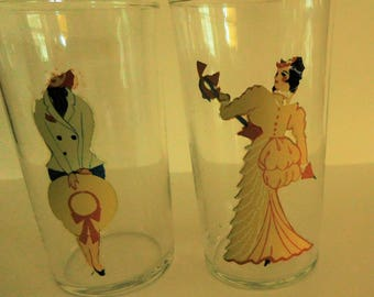 Peek-a-Boo Girlie Glass - Naughty and Nice 1940's Risque Tumblers