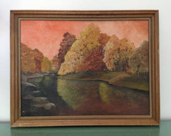 "vintage Autumn framed canvas art painting (21""x 27""). Pine River, Ossipee, NH by Harold Thornton, Waterboro, ME.  Large rustic fall original"