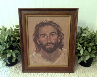 Mid Century Jesus portrait print by R. Hook, the Head of Christ. Rustic Brown Frame with Gold Inlay. Brown and Tan, Neutral Earth Tones.