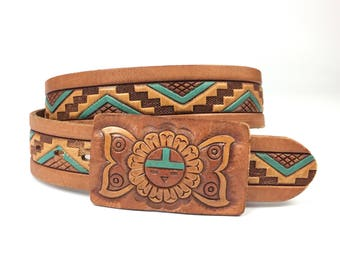 Vintage Tooled Leather Butterfly Buckle Belt Chambers Phoenix