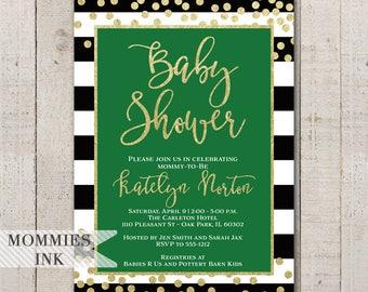 Green and Black Invitation, Black and White Stripe Baby Shower Invitation, Confetti Invite, Black and Gold Invitation, Glitter Invitation
