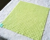 "Lime Green Fluffy Pops Vintage Chenille Bedspread Fabric 21"" x 20"""