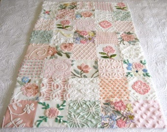 "Custom Ordered  Heirloom Quality  ""Rose Garden"" - Vintage Chenille Baby Quilt"