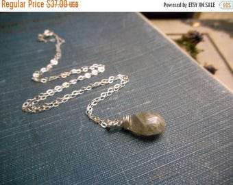 SALE Spirit Tear: Feathergilll. Necklace - Labradorite & Sterling silver Petite Dainty Layering Necklace