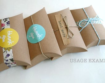 Kraft Gift Boxes Kraft Pillow Boxes Packaging Box 3 x 3.5 x 1 in- Set of 12 Blank Wedding Favor boxes