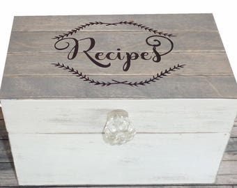 Farmhouse Recipe Box Shabby Chic Cottage Style Personalized with Shiplap Grey wood lid
