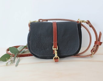 JADE Petite black leather crossbody bag