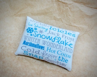 Winter pillow | Winter verse | Snowflake | PIllow Tuck | Subway Art Pillow | Blue graphic | Snowflake PIllow | Winter fun | Winter decor