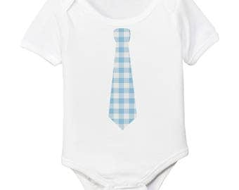 Blue Gingham Easter Tie Organic Cotton Baby Boy Bodysuit