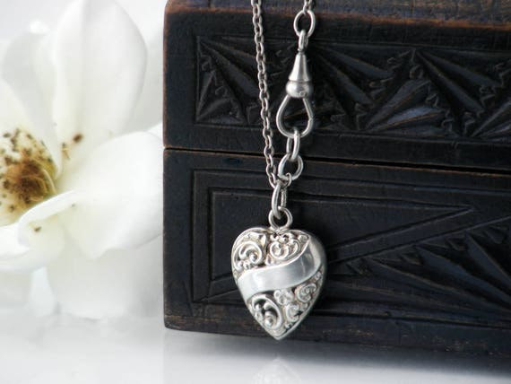 Antique Heart Pendant | Victorian Puffy Heart Sterling Silver Necklace - 25 Inch Antique Sterling Chain, Fob Clip