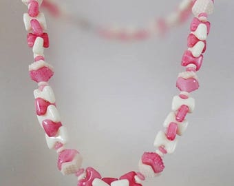 SALE Vintage Milk Glass and Pink Art Glass Necklace. Geometric Textured Rose Pink Art Glass and Milk Glass Necklace.