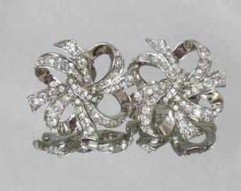 SALE Vintage KJL Clear Rhinestone Earrings.  Kenneth J. Lane for Avon.  Large Silver Ribbon Bow Clear Rhinestone Earrings.