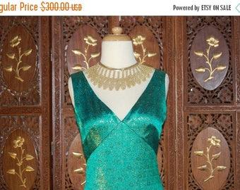 ON SALE Vintage 1960S Estevez Emerald Green & Metallic Gold Evening Gown