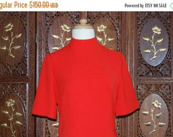 ON SALE Vintage 1960s CLARISSA Scarlet Wool ' Space Age' Mini Dress Sz 38