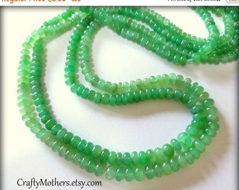 8% off SHOP-WIDE, CLEARANCE, Light Green Chrysoprase Smooth Rondelles, 2 inch strand, Select a size, luxe rare natural gems