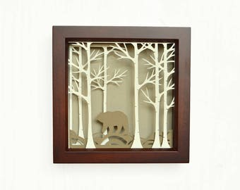 Birch forest art, papercut, papercutting designs, shadow box, shadow box art, wall decor, shadowbox, shadow box art,paper cuts, stay wild