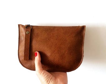 Brown leather purse, Makeup Bag , leather wallet ,leather purse