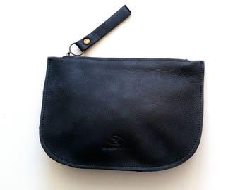 Black matt leather zipper purse, Makeup Bag , leather wallet ,leather purse
