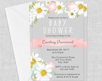 PRINTED Grey Daisy Invitation- Pink, 5 x 7, Baby Shower Invitation, Wedding, Birthday, Bridal Shower, Customized w/ Your Wording