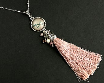 Tassel Necklace. Infinity Necklace. Pink Necklace. Life and Love Necklace. Pink Tassel Necklace. Silver Necklace. Handmade Necklace.