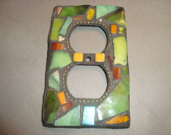 MOSAIC Electrical Outlet COVER , Wall Plate, Wall Art, Shades of Green, Stained Glass Chips,