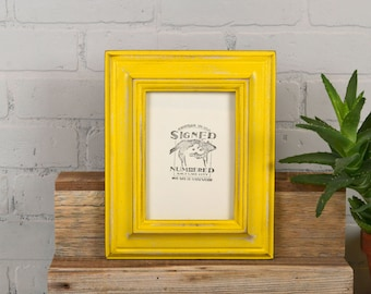 "5x7"" Picture Frame in Mulder Style with Super Vintage Yellow Finish - IN STOCK - Same Day Shipping - 5 x 7 Photo Frame Yellow Decorative"