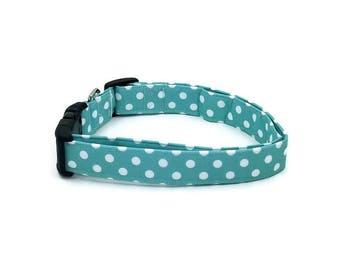 Seafoam Green and White Polka Dot Dog Collar