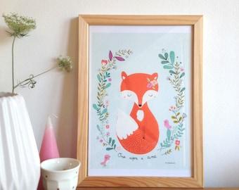Fox art print, fox, birds illustration - print for kids, home decor - Once upon a time - woodland print - kids decor A4 - art print for kids