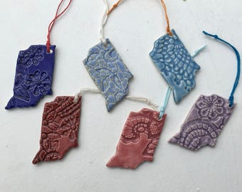 Custom Set of 6 Indiana Ornaments in Two Color Choices (good for Baby Showers, Bridal Parties or other Special Occasions)