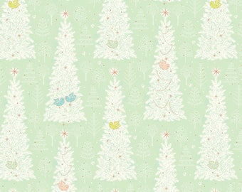 Christmas Dear Holiday Fabric Winter Flock Trees and Birds Mint Green