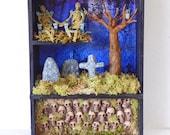 Cemetery Shadow Box - Memento Mori Art - Gothic Shadowbox Diorama - Miniature Cemetery - Miniature Catacomb Shadow Box