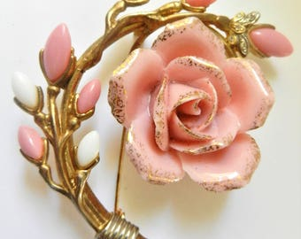 Rare English Pink White Glass Blooming Rose Rhinestone Brooch - exquisite but substantial & very showy brooch - Art.817/4