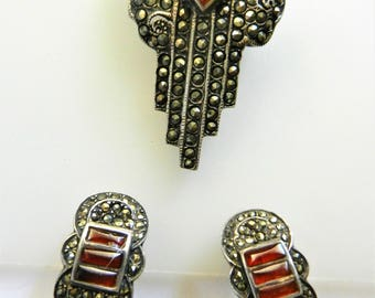 1930s Art Deco Carnelian and Marcasites  925 sterling silver Brooch and Earrings set - shimmering old treasure for collection - Art.858/4