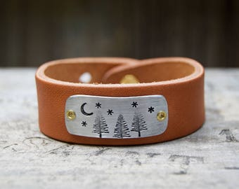 Forest Stars Moon Leather Aluminum Bracelet . Boho Design Artisan Bracelet