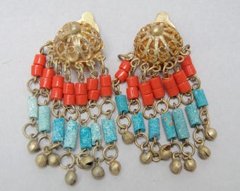Vintage Etruscan Gold Gilt Coral Turquoise Dangling Filigree Earring