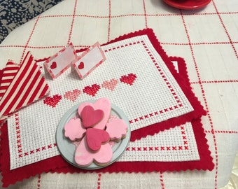 Valentine Placemats and Cookies for 18 in dolls