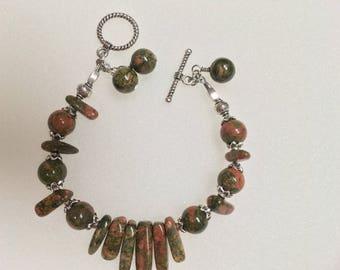Unakite and Silver Tribal Bracelet