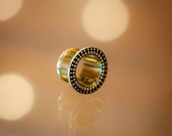 Brass ear tunnel with dots decoration, Tribal ear plug, Gauges, Eyelets, Gauge ear jewellery, Brass ear tunnel, Ear gauge, Flesh tunnel