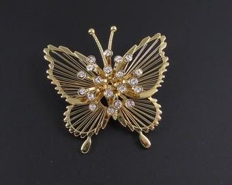Monet Wire Work Rhinestone Butterfly Brooch, Wire Work Brooch, Gold Brooch, Insect Brooch, Bug Brooch, Rhinestone Brooch