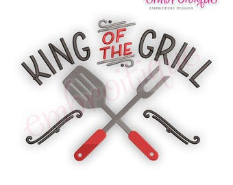 King Of The Grill  - Father's Day Dad Barbecue Grilling Smoker -Instant Download Machine Embroidery Design