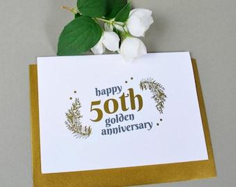 50th Golden Wedding Anniversary Gold Foil card, love card, anniversary card, fiftieth wedding anniversary card, gold card 50th anniversary