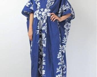 30% Off FLASH SALE Hawaiian Dress Summer Caftan Dress Royal Blue Cotton Maxi Dress Floral Hawaiian Print Dress Kaftan Muu Muu Plus Size Dres