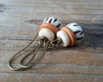 Bohemian Bone & Brass Earrings   Boho Style Drops   Fair Trade Natural Bone Bead Dangles in Ivory, Terra Cotta, Bone   Safari Ride