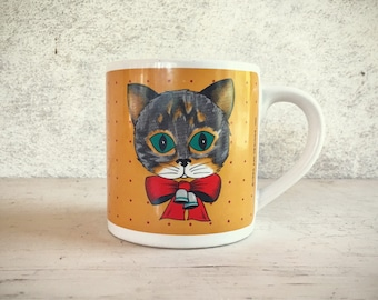 1985 Zak Designs Christmas cat mug retro coffee cup December birthday gift gray tabby cat
