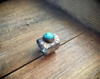 Vintage Size 7 Southwestern ring sterling silver band with natural turquoise jewelry