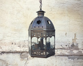 Vintage Spanish Colonial style tin and glass pendant lamp, Mexican ceiling lights