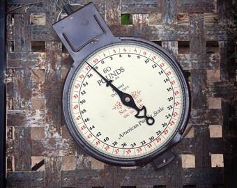 Vintage 60 Pounds Metal Hanging Scale, Farmhouse Decor, Dairy Scale